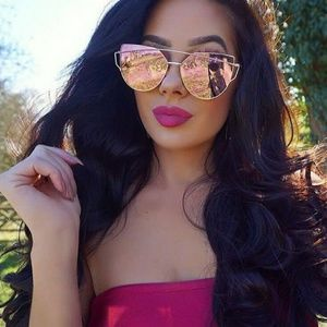Accessories - Pink Wide Frame Extreme  Cate Eye Sunglasses
